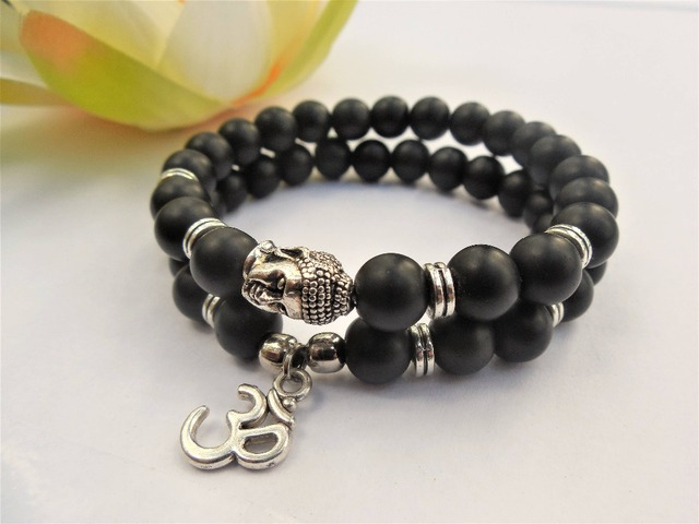 Free Ship Om Buddha Bracelets Set Men Yoga Beads Charm Bracelet Matte Black Onyx