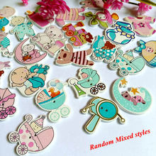 30pcs/lot Hot sale Wholesale Random mix baby 2 Hole Wood Button Craft Sewing Scrapbooking For Decor Accessories Tools Botones