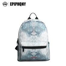 Epiphqny бренд серый цветок рюкзак Дамские туфли из PU искусственной кожи backbag снег печати сумка школа для модная одежда для девочек Водонепроницаемый