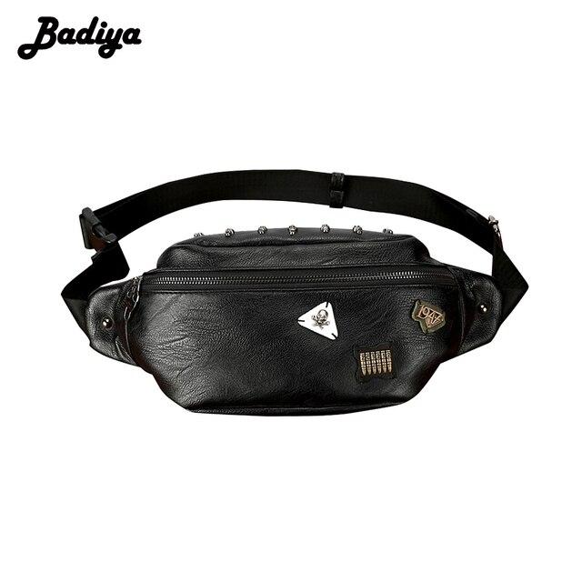 d7c281eaf347 Badiya Waist Packs Men PU Leather Fanny Pack Belt Bag Phone Pouch Bags  Casual Travel Waist Pack Male Small Waist Bag Skull
