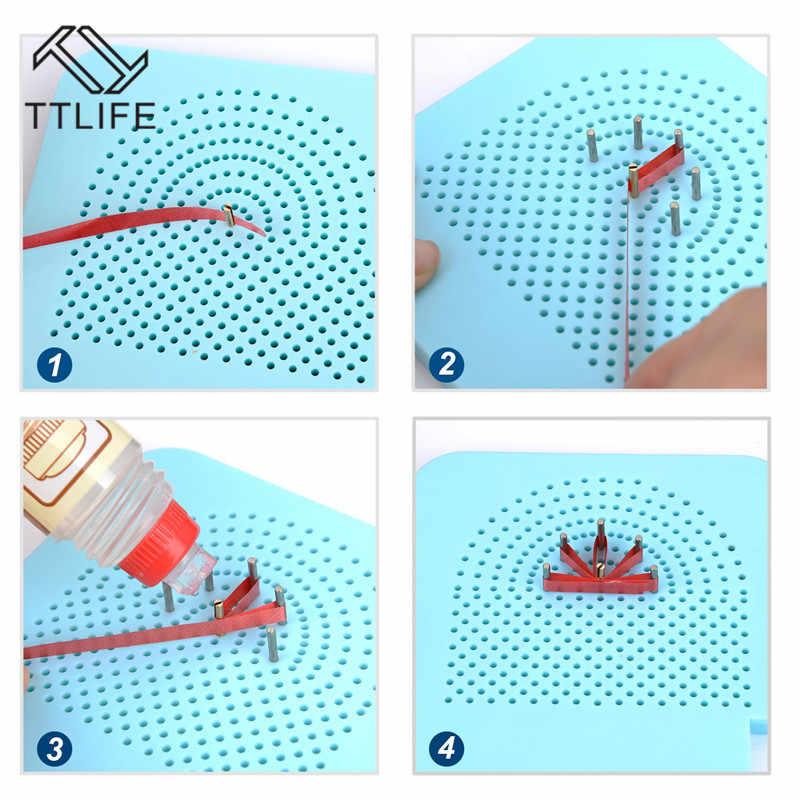Ttlife Quilling Papan dengan Pin Penyimpanan Biru Muda Grid Panduan untuk Pembuatan Kertas Winder Roll Roll Kerajinan DIY Alat ABS biru Baru
