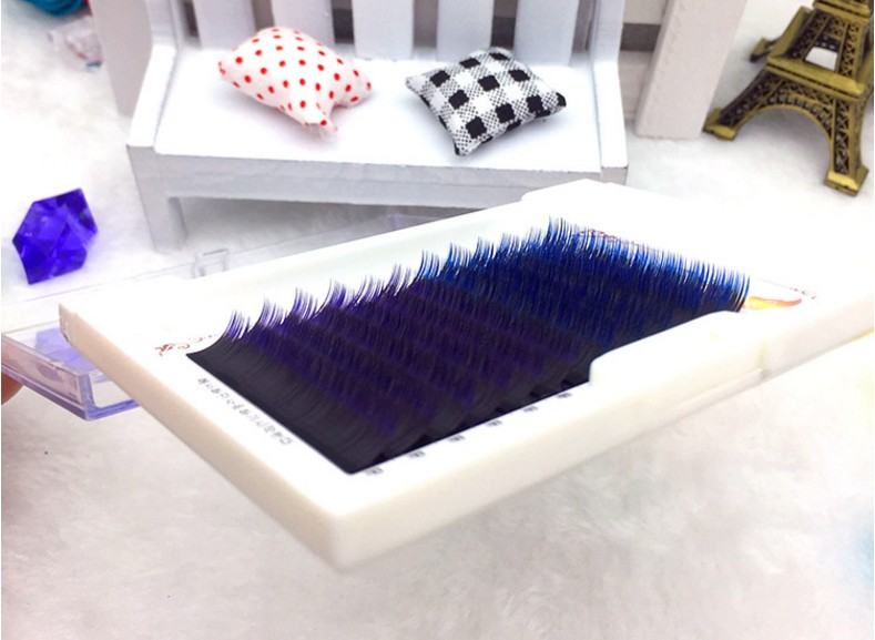 HBZGTLAD  0.1mm 8-13mm False Lashes Gradient Blue+purple Mixed In One Tray Eyelash Individual Colored Eyelash Eyelash Extensions