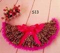 Comercio al por mayor color de rosa caliente de la niña del leopardo cinta falda del tutú para los niños