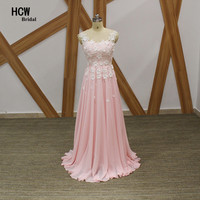 Elegant Pink Long Evening Dress Graceful Flowers Lace Chifffon A Line Formal Occasion Gowns 2017 Arabic