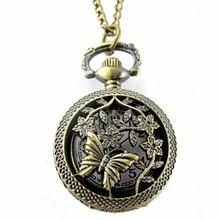 Watch Women Clock Retro Bronze Butterfly and Flower Openwork Cover Pocket Quartz Watch Leisurely Bracelet Hot Sale Popular C5