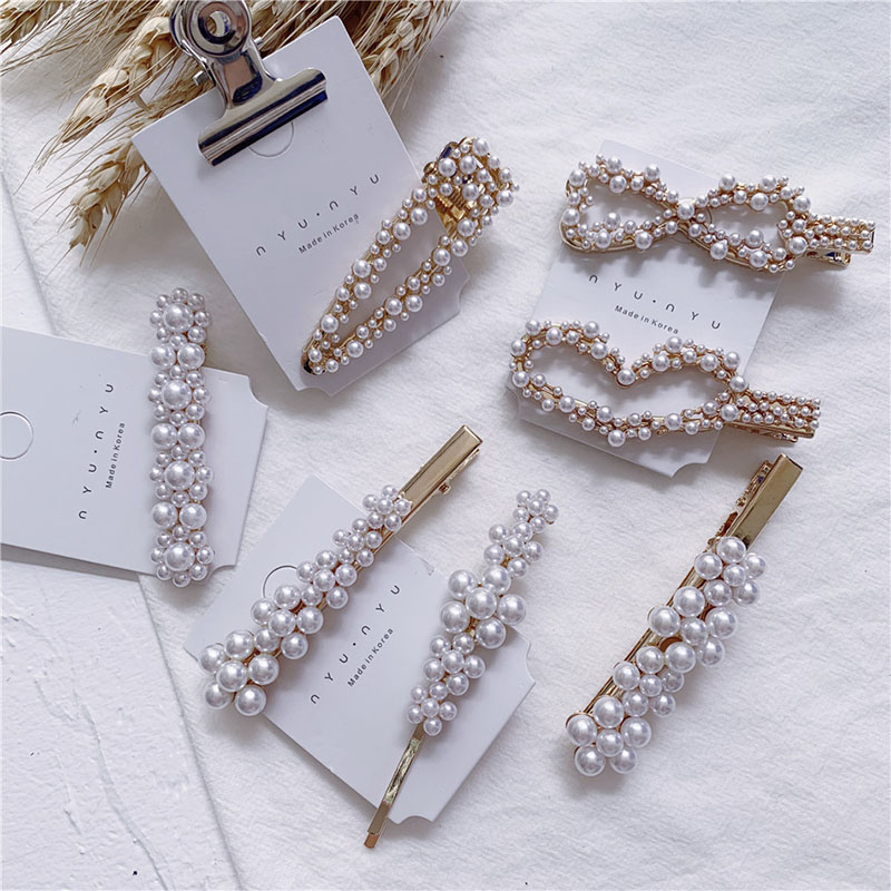 Hot Trendy Simulated Pearl Flower Hairgrips For Women Girls Hollow Triangle Bow Heart Shape Hairpins Hair Clips Korea Jewelry