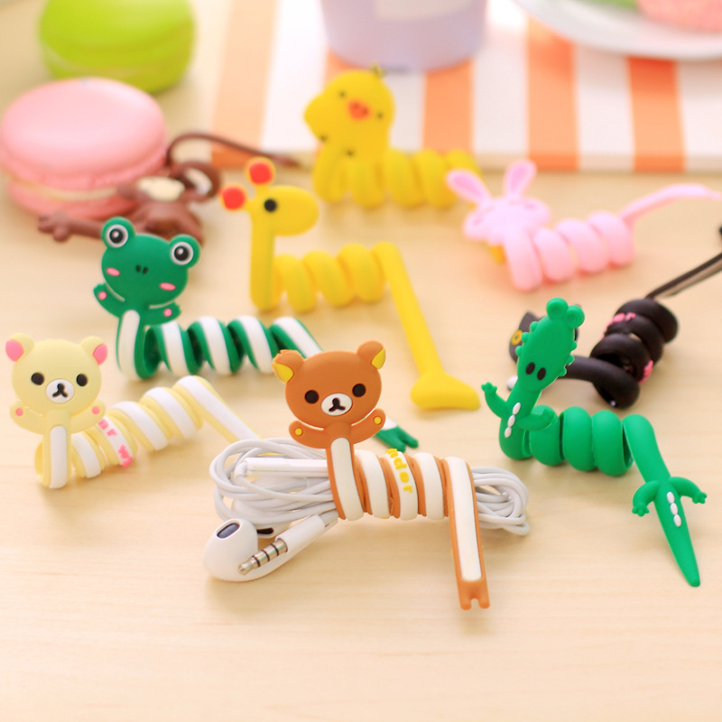 1pcs Cartoon USB Cable Bites For Cable Protection Cute Iphone Accessory Animal Protector Data line Winder Cord Data Protect zuczug 3pcs 60cm spiral cord protector wrap cable winder for usb charger cable cute animal organizer for data cable earphone