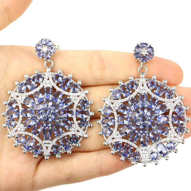 Wonderful Long Big Heavy 29.1g Iolite, White CZ 925 Silver Earrings 55x42mm