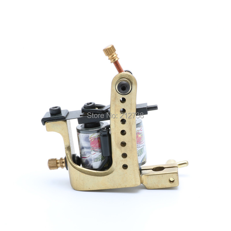 Handmade copper Tattoo Machine 12 coils beautifully carved shader and Liner tattoo gun Free Shipping недорого