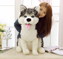 plush simulation husky dog toy big new creative simulaiton husky dog doll gift about 70cm