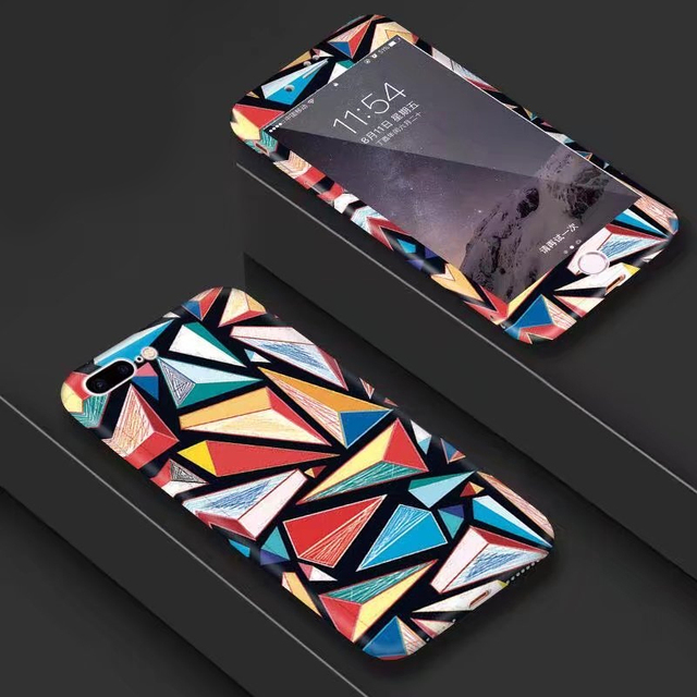 Us 3 41 20 Off Simple Artistic Geometric Graphic Pattern 360 Case Cover For Iphone 6s 7 8 Plus Xs 10 Full Body Matte Slim Cover Triangle Coque In