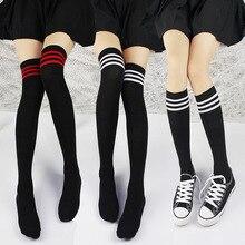 462e3ef6a Fashion Striped Women Thigh Highs Knee Socks Black Tops for Women Plus Size  Stockings