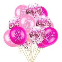 цена 16pcs Baby Shower Boy Girl Latex Balloons Confetti Set First Birthday Party Decoration Kids Happy Birthday Balloon 1 Year в интернет-магазинах