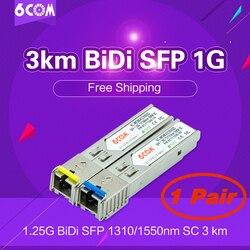 Único conector do sc da fibra de 1.25g, 1g 1000 base bidi 1310nm/1550nm 3km wdm ddm, transceptor bidi do módulo de sfp (1 par)