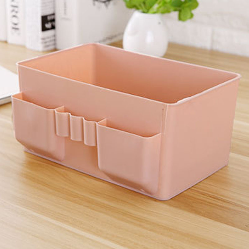 Image 3 - 1 Pcs Colorful Makeup Organizer Multi grid Plastic Cosmetic Storage Box Office Desktop Debris Finishing Organizador Box-in Storage Boxes & Bins from Home & Garden