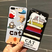 For iphone 6 6s 6 plus 6s plus Fashion and lovely Cartoon Pet kitten Case Frosted soft TPU For iphone 7 7 plus Case Phone Shell