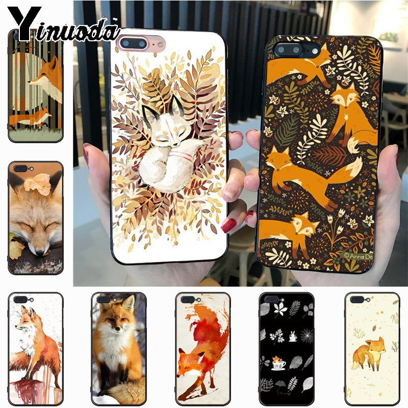 Yinuoda Fox In Autumn leaves forest  Diy Luxury Protector phone Case for iPhone 7plus 6S 7 8 8Plus X XS XR XS MAX 5 case