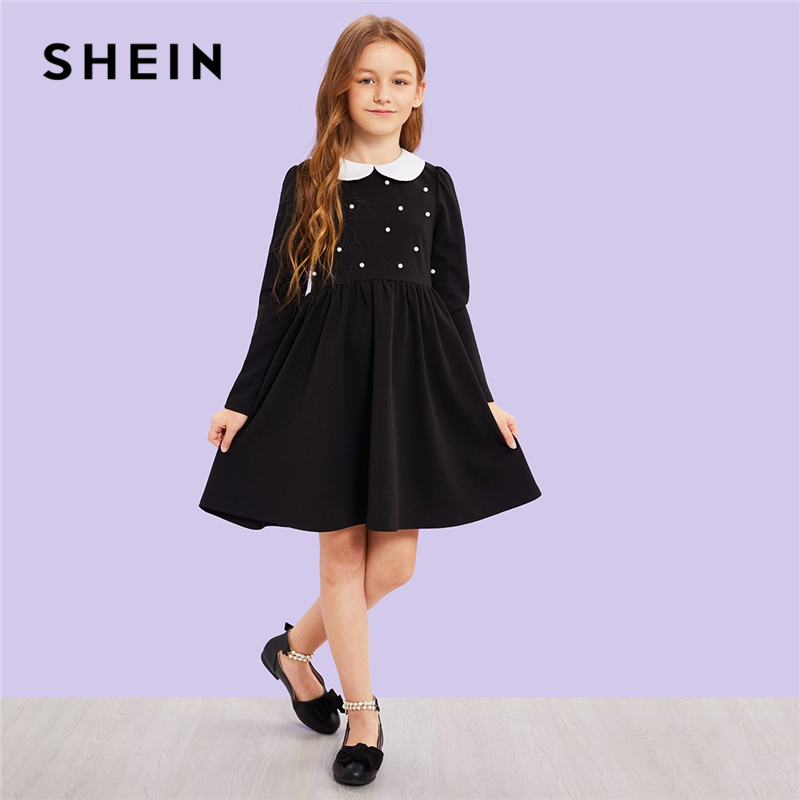 SHEIN Girls Black Contrast Collar Pearl Beading Cute Dress Children Clothing 2019 Spring Korean Long Sleeve Elegant Kids Dresses