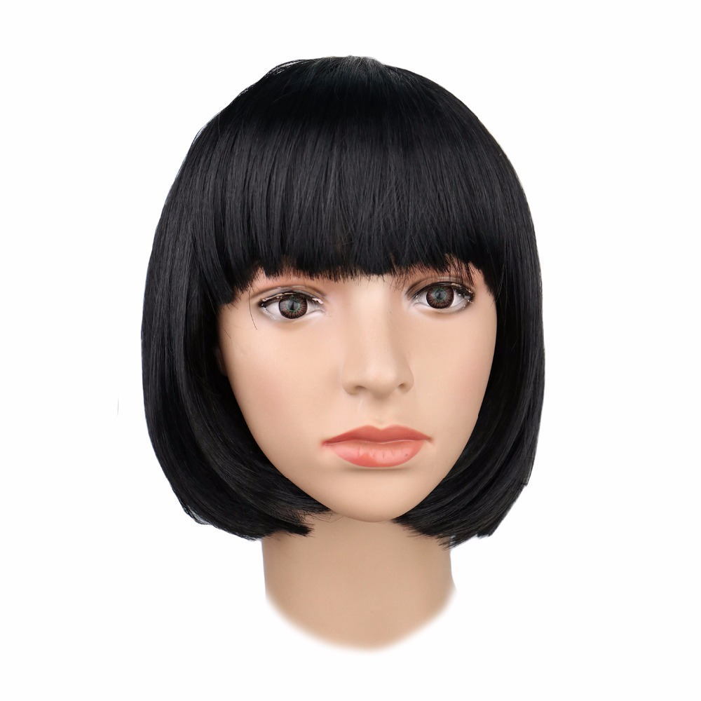 QQXCAIW Women Short Straight Bob Cosplay Party Red Green Puprle Pink Black Blue White Blonde Dance Wigs
