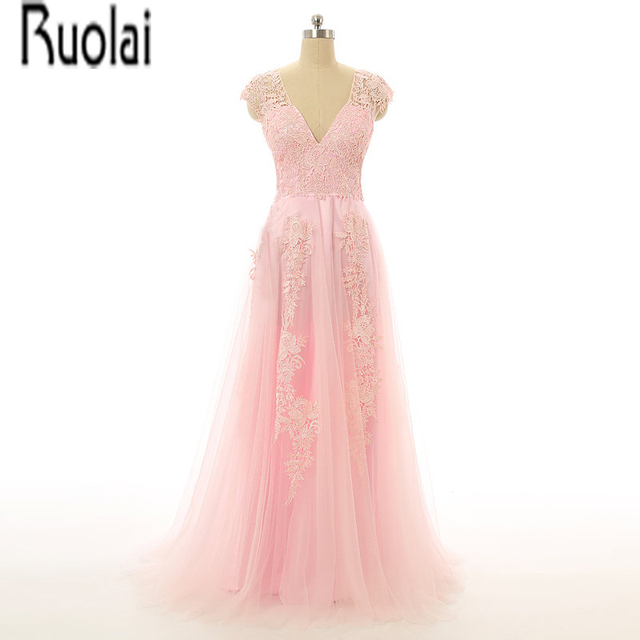 New Arrival Fashion Pink Tulle Lace Applique Cheap Modest V Neck Cap Sleeves A Line Long Evening Dresses Special Occasion Dress