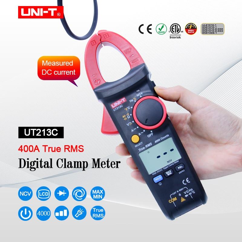 UNI T UT213C True RMS 400A Digital Clamp Meter AC DC Resistance Capacitance Frequency Temperature Clamp