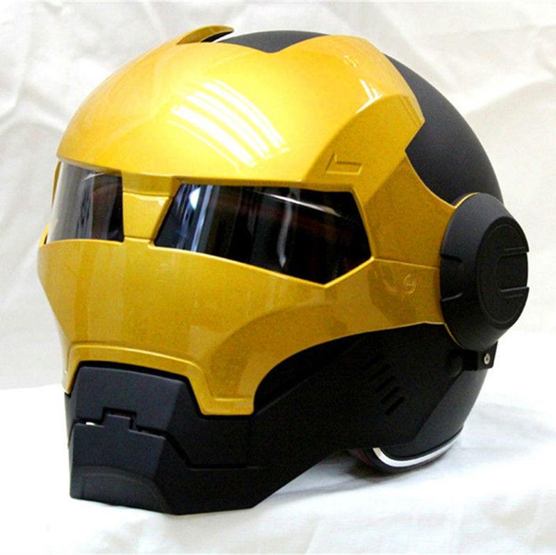 Preto/Ouro MASEI IRONMAN Homem De Ferro capacete das mulheres dos homens metade capacete aberto da cara do capacete da motocicleta capacete 610 ABS casque motocross