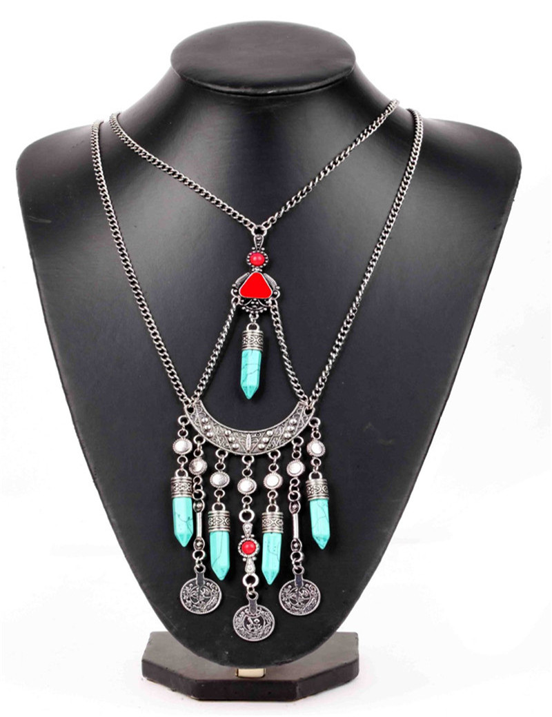 Maxi Collier Plastron Multi Strand Turquoise Statment Necklace 2016 Native  American Jewelry Turkish Bijoux Femme Collares Mujer