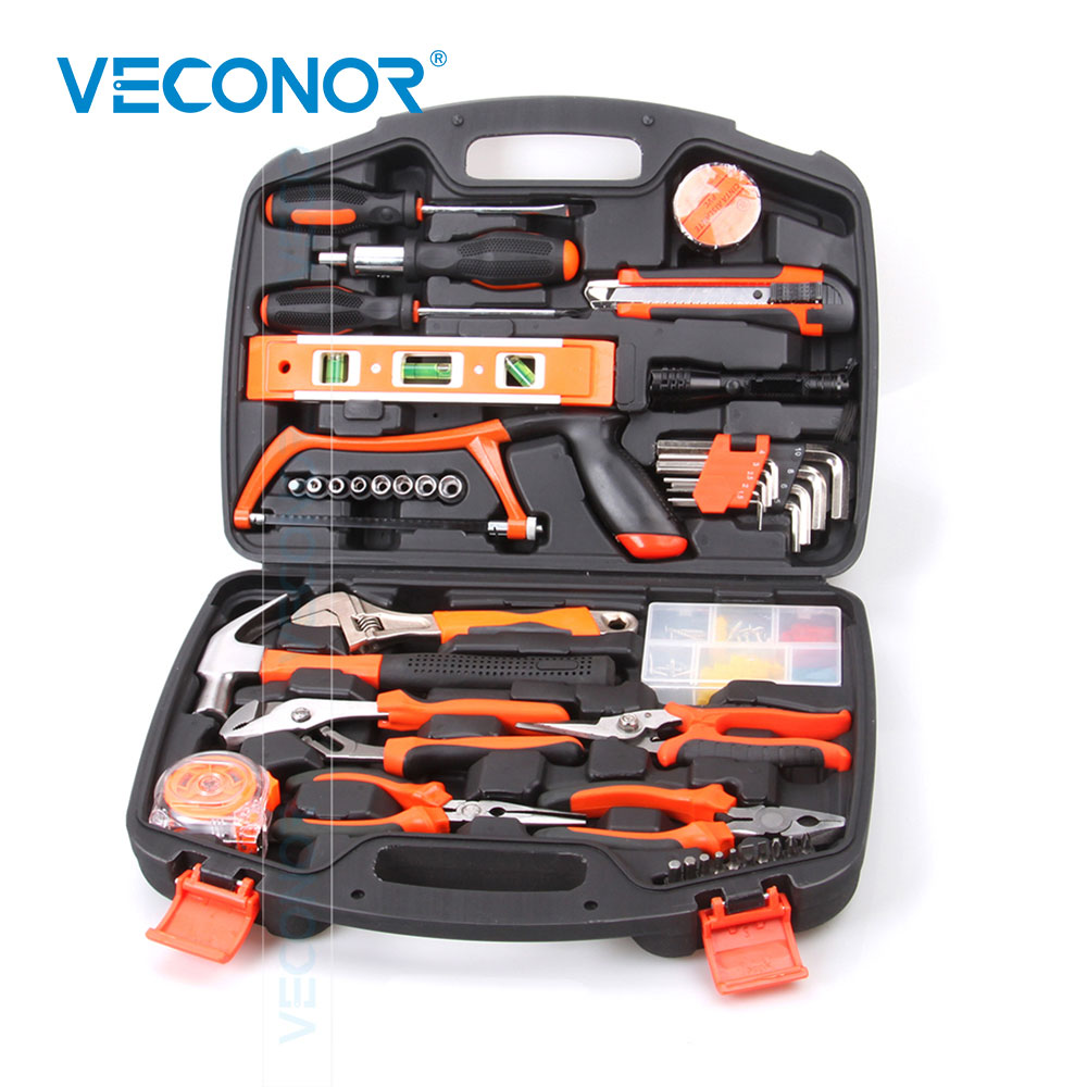 106pcs Hand Tool Set Kit Household Tool Kit Saw Screwdriver Hammer Tape Measure Wrench Plier