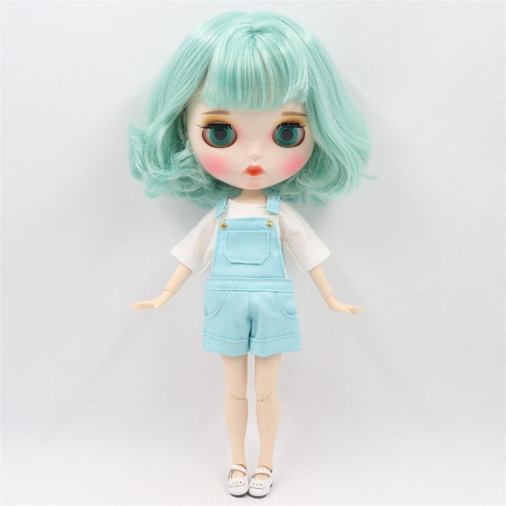Oyuncaklar ve Hobi Ürünleri'ten Bebekler'de Fabrika blyth doll 1/6 bjd beyaz cilt ortak vücut nane yeşil saç yeni mat yüz Oyma dudaklar kaş, özelleştirilmiş yüz BL4006'da  Grup 2