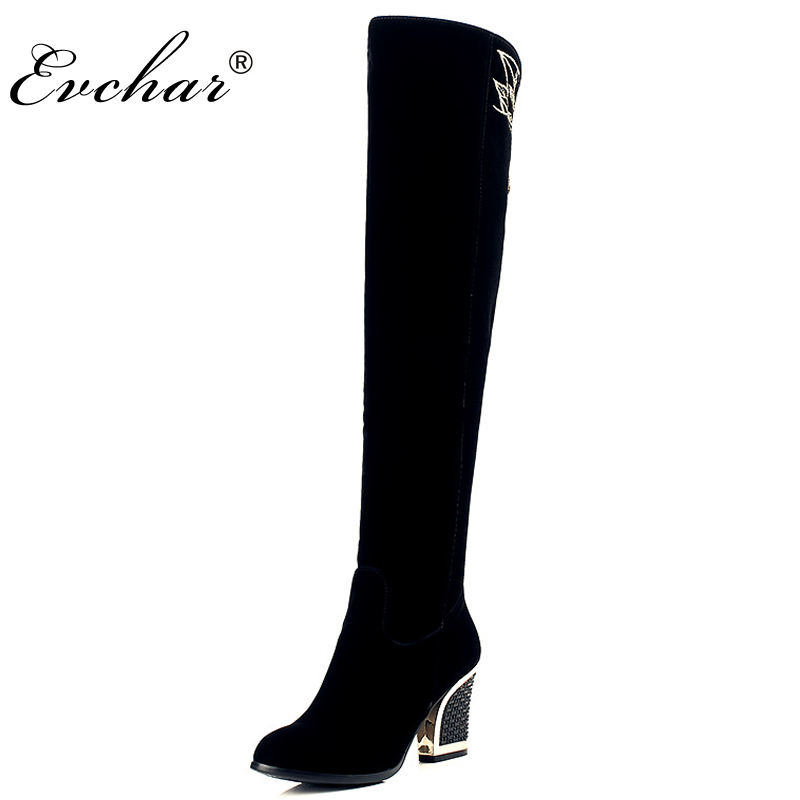 Sexy metal heel Embroidery zip over the knee thigh high boots   pointed toe Square heel high-heeled Fashion Boots size 34-40 choudory botines mujer black thigh high boots square heel round toe zip over knee high boots fashion motorcycle booties women