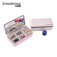 Casegrace femmes bijoux boîte de rangement écologiquement brillant PU en cuir lumière portable réglable lady bijoux organisateur boîte 01140