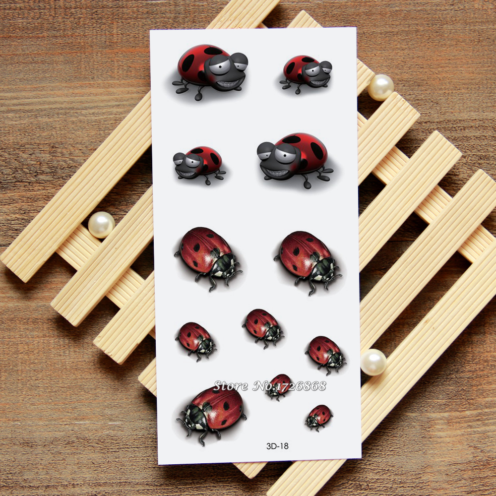 3D Ladybug Fake Tattoo Decals Temporary Tattoo Body Art Flash Tattoo Stickers Waterproof For Women Men #018
