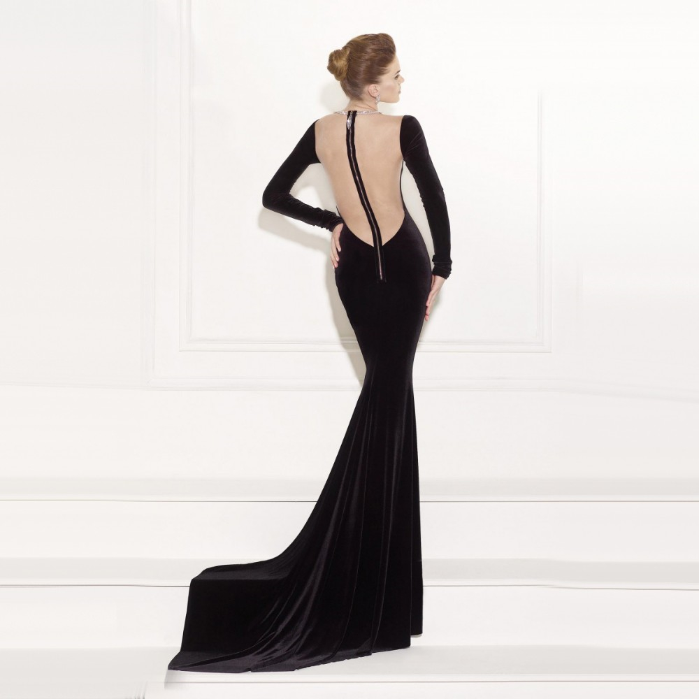 175da18644 Plunge V Illusion Neckline Sexy Back Contrast Evening Dress Unique ...