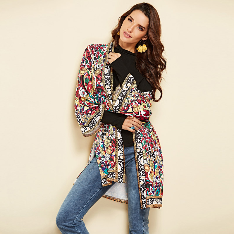 Workwear Elegant Open Front Vintage Floral Print Fashion Long Coat 2018 Autumn Winter Highstreet Women   Basic     Jacket   Outerwear