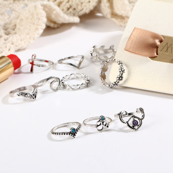10pcs/Set Antique Silver Color Rhinestone Rings 2
