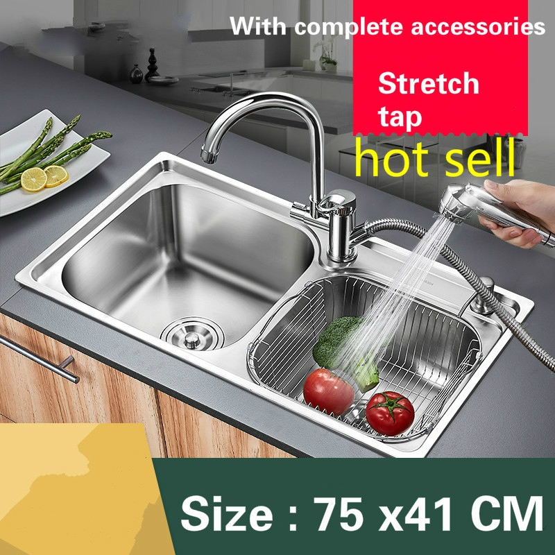 Free Shipping Food Grade 304 Stainless Steel Hot Sell Kitchen Sink 0.8mm Thick Ordinary Double Trough And Stretch Tap 75 X41 CM