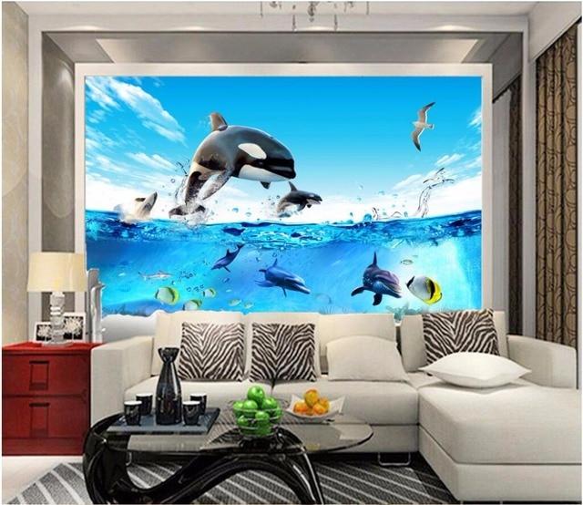 3d room wallpaper custom photo mural Deep sea fish aquarium dolphin ...