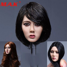 лучшая цена 1/6 scale Asia female short black hair head sculpt long hair Xiu girl head model f 12