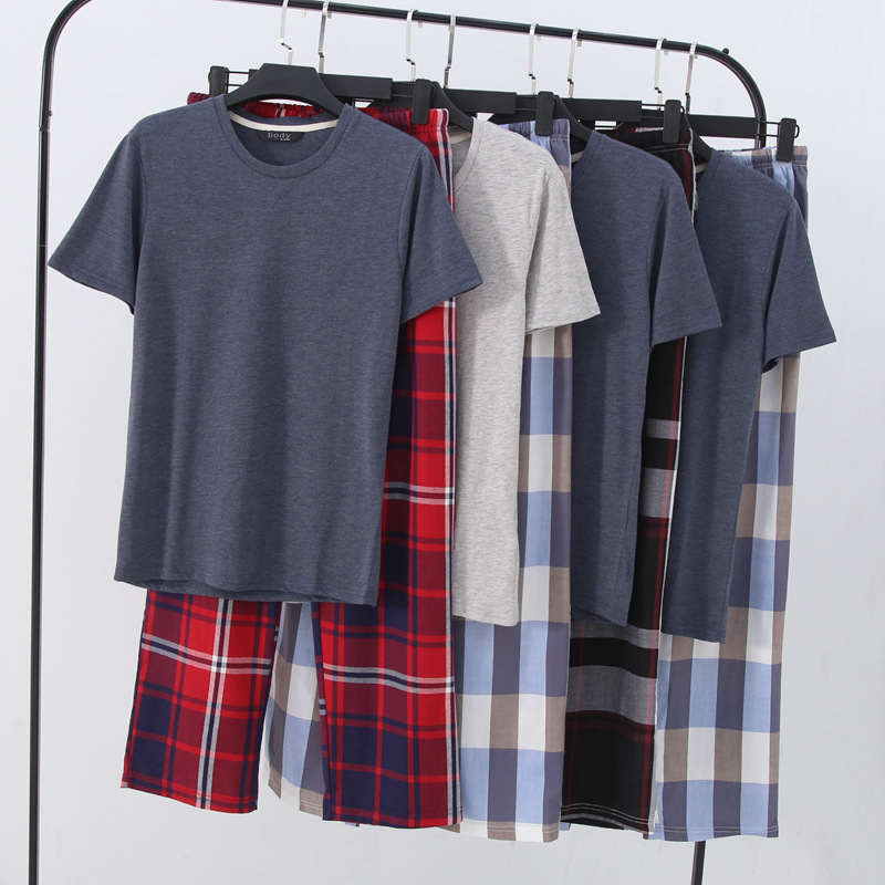 Summer Thin Cool Comfortable Loose Casual Men Cotton Pajamas Short Plaid Trousers 2-piece Pijama Set Men Leisure Suits Sleepwear