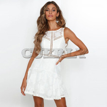 CUERLY Womens Summer Dresses hollow out White Lace Mini Party Sexy Club backless Casual Vintage Beach Sun Dress boho L8