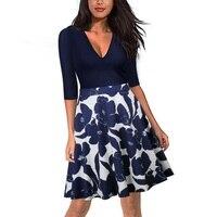 Kadın Patchwork Polka Dot Baskılı Flare Elbise Fermuar Dekorasyon Tunik Midi Elbise Sonbahar Casual Slim Bodycon Elbise