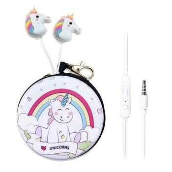 Cute Cartoon Unicorn Wired Earphones With Mic