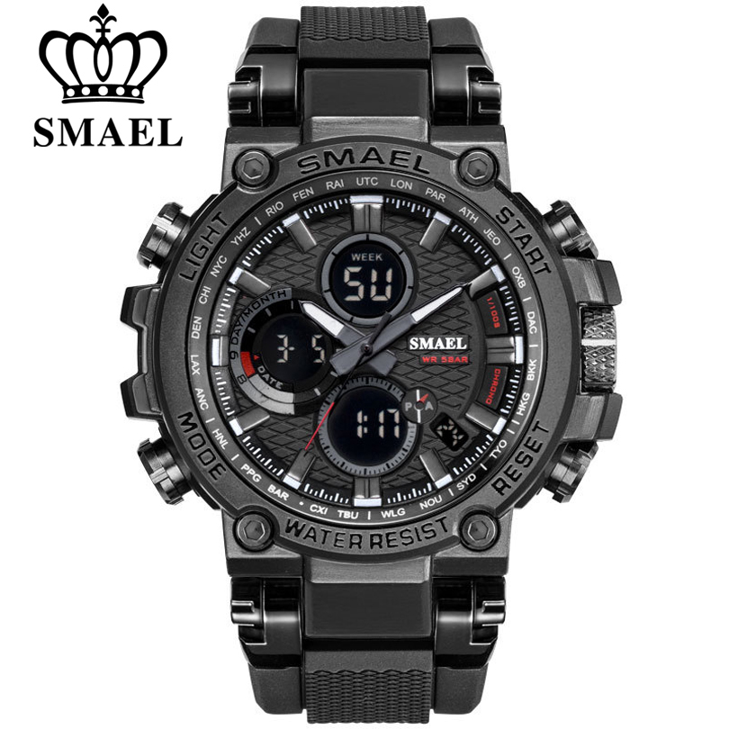 SMEAL Men Sport Watches Digital Double Time Chronograph Watch Mens LED Chronometre Week Display Wristwatches montre homme Hour smael 1708b