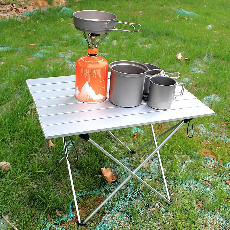Height Adjustable Aluminium Outdoor Lightweight Folding Table