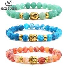 HOBBORN Classic Natural Stone Women Men Bracelet 8mm Weathered Onxy Buddha Head Beads Bracelets Healing Meditation Jewelry Cruz