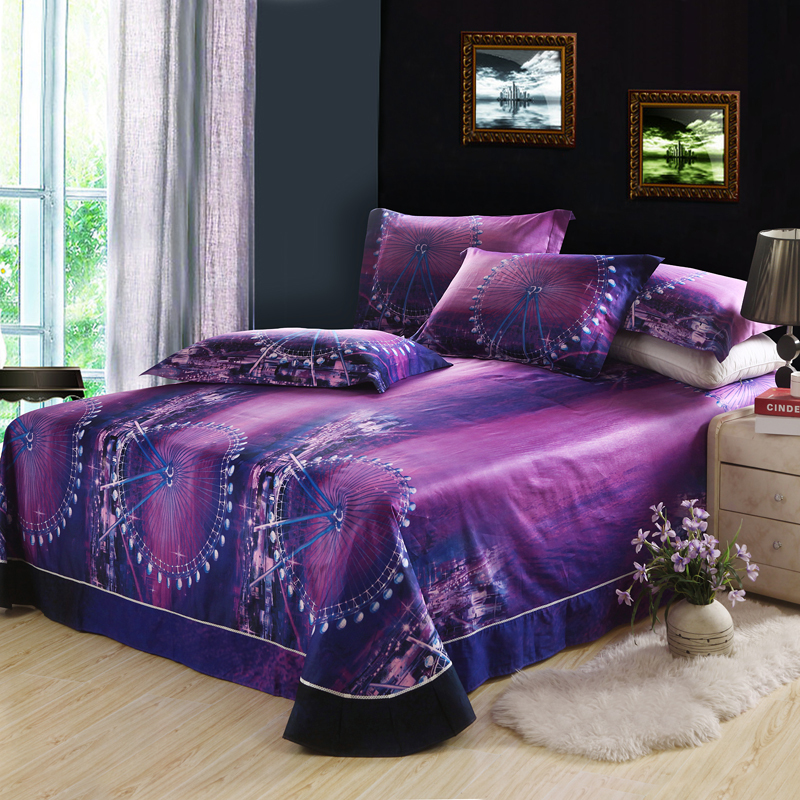 3D Ferris Wheel Night City Skyline Purple Bedding Set Queen Duvet Cover Bed  Sheet Pillowcase,100% Cotton Bedroom Textiles 4pcs In Bedding Sets From  Home ...