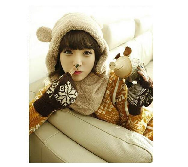 Winter Hat Scarf Set Cute Women Cotton Warm Female Cap Cute Plush Bear Scarf Comfortable scarf hat Set