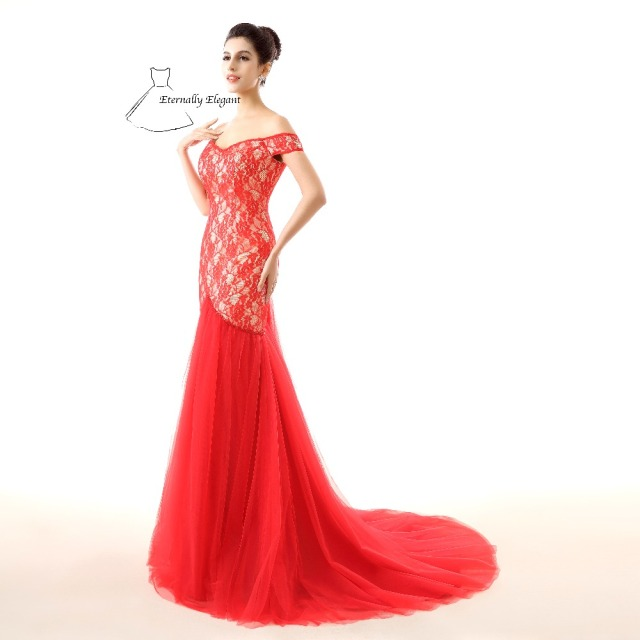 red trumpet tulle dress