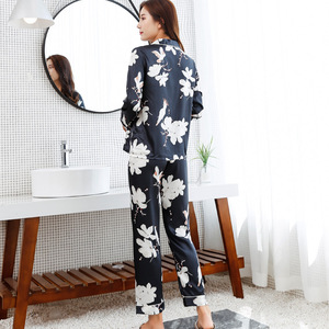 Image 4 - JRMISSLI Lange Bloem Mouwen Print Zijden Pyjama Pak Vrouwen Lounge Pyjama Sets Zijde Satijn Pijama Nachtkleding Pyjama