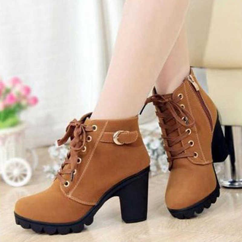 Kadın yarım çizmeler 2019 sonbahar kadın yüksek topuklu ayakkabı 8.5 cm dantel-up kadın martin çizmeler botas de mujer artı boyutu 35 -41
